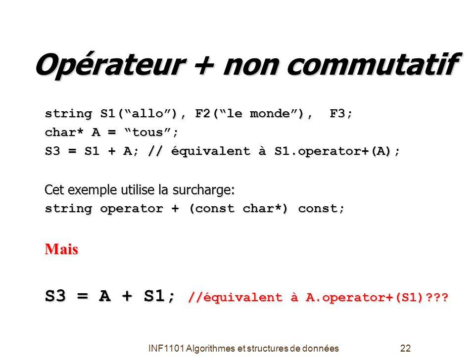 """INF1101 Algorithmes et structures de données22 Opérateur + non commutatif string S1(""""allo""""), F2(""""le monde""""), F3; char* A = """"tous""""; S3 = S1 + A; // équ"""