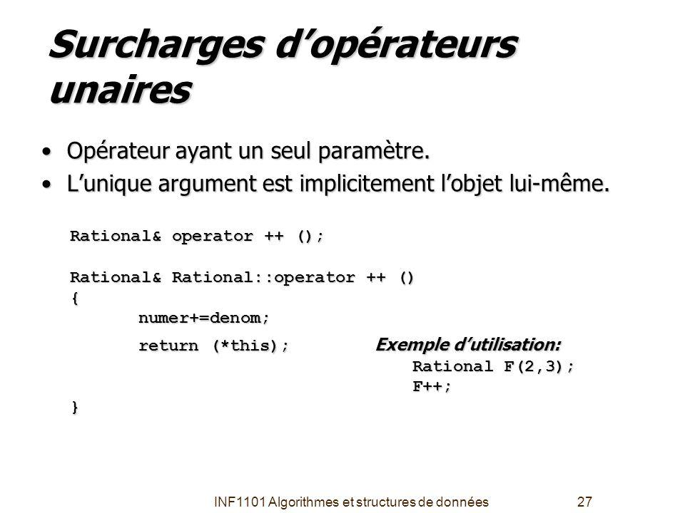 INF1101 Algorithmes et structures de données27 Surcharges d'opérateurs unaires •Opérateur ayant un seul paramètre. •L'unique argument est implicitemen