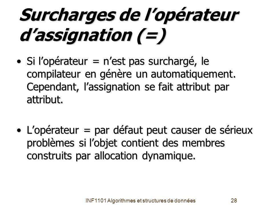 INF1101 Algorithmes et structures de données28 Surcharges de l'opérateur d'assignation (=) •Si l'opérateur = n'est pas surchargé, le compilateur en gé