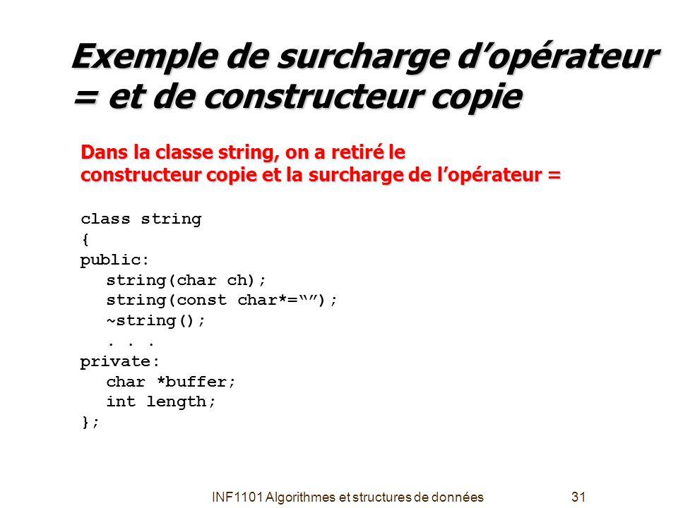 INF1101 Algorithmes et structures de données31 Exemple de surcharge d'opérateur = et de constructeur copie Dans la classe string, on a retiré le const