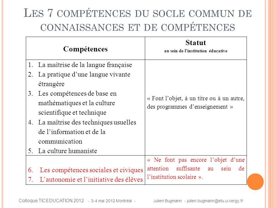 L ES 7 COMPÉTENCES DU SOCLE COMMUN DE CONNAISSANCES ET DE COMPÉTENCES Compétences Statut au sein de l'institution éducative 1.La maîtrise de la langue