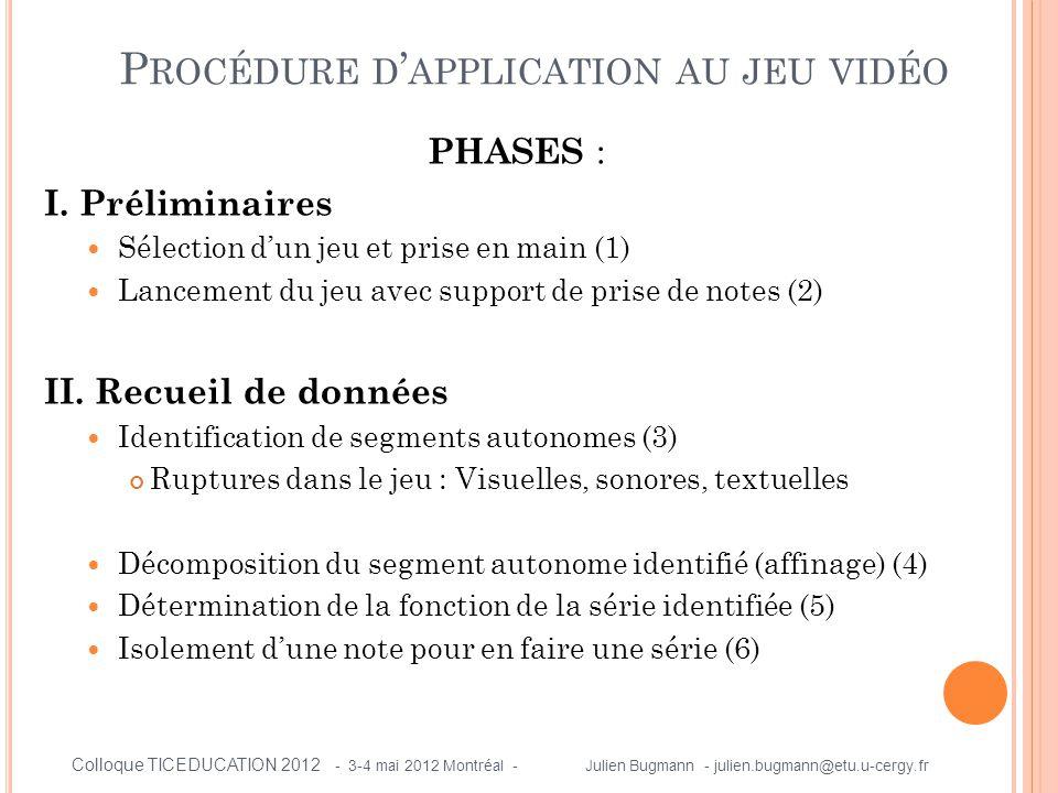 PHASES : I. Préliminaires  Sélection d'un jeu et prise en main (1)  Lancement du jeu avec support de prise de notes (2) II. Recueil de données  Ide