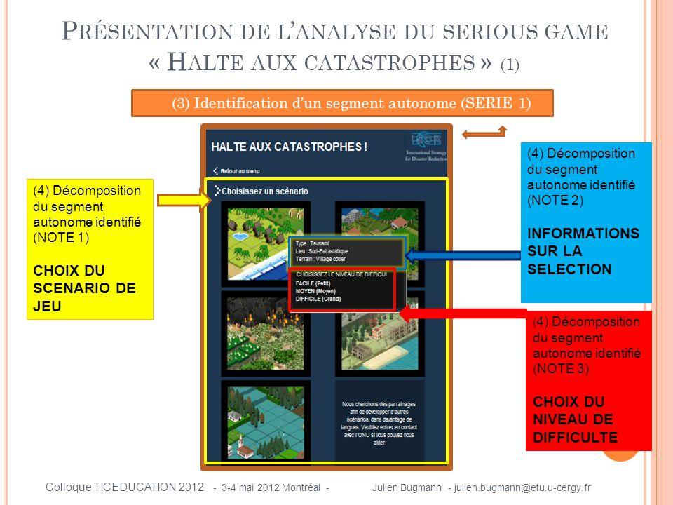 P RÉSENTATION DE L ' ANALYSE DU SERIOUS GAME « H ALTE AUX CATASTROPHES » (1) (3) Identification d'un segment autonome (SERIE 1) (4) Décomposition du s