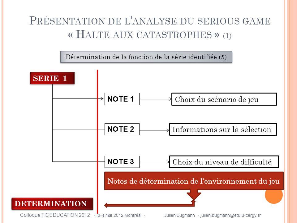 P RÉSENTATION DE L ' ANALYSE DU SERIOUS GAME « H ALTE AUX CATASTROPHES » (1) Détermination de la fonction de la série identifiée (5) SERIE 1 NOTE 1 NO