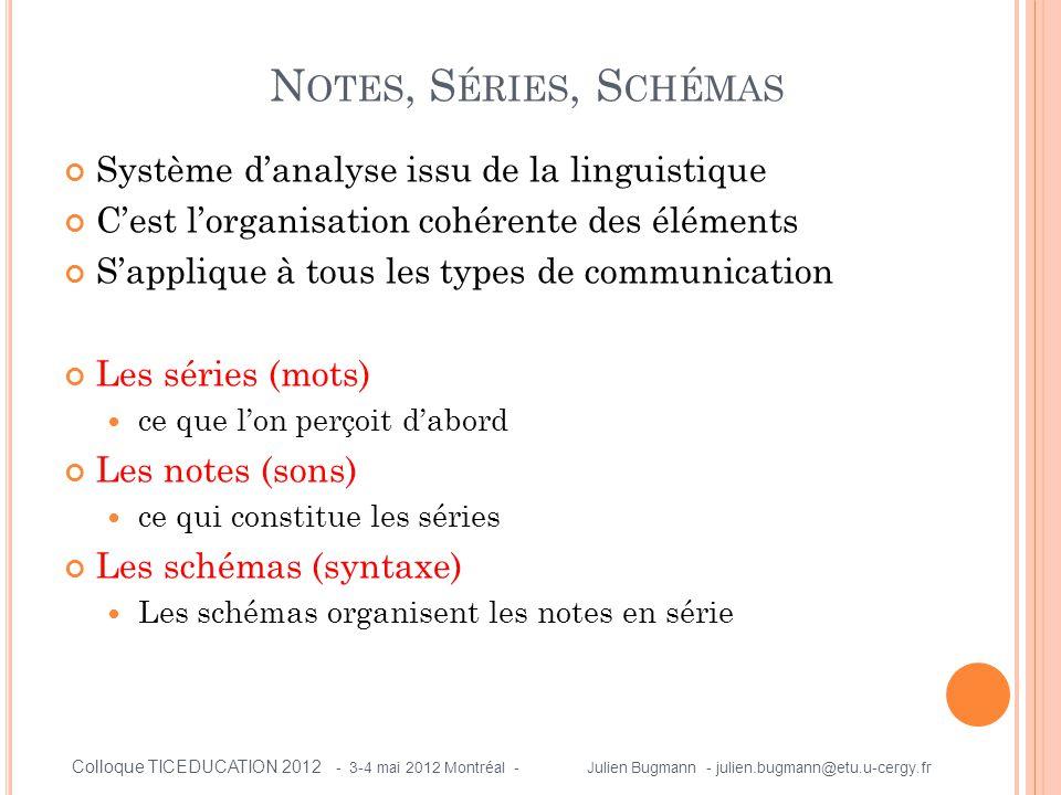 P RÉSENTATION DE L ' ANALYSE DU SERIOUS GAME « H ALTE AUX CATASTROPHES » (1) (3) Identification d'un segment autonome (SERIE 1) (4) Décomposition du segment autonome identifié (NOTE 1) CHOIX DU SCENARIO DE JEU (4) Décomposition du segment autonome identifié (NOTE 2) INFORMATIONS SUR LA SELECTION ( 4) Décomposition du segment autonome identifié (NOTE 3) CHOIX DU NIVEAU DE DIFFICULTE Colloque TICEDUCATION 2012 - 3-4 mai 2012 Montréal - Julien Bugmann - julien.bugmann@etu.u-cergy.fr