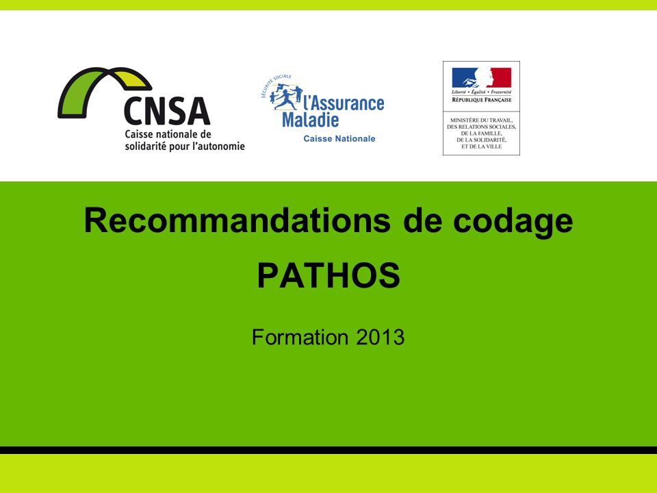 Recommandations de codage PATHOS Formation 2013