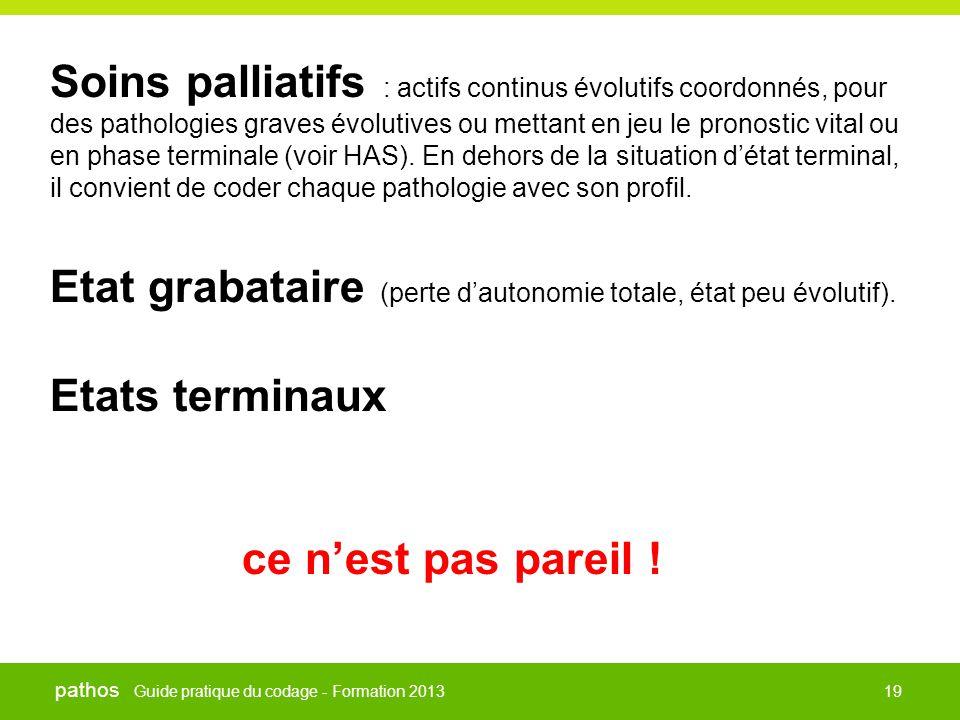 Guide pratique du codage - Formation 2013 pathos 19 Soins palliatifs : actifs continus évolutifs coordonnés, pour des pathologies graves évolutives ou