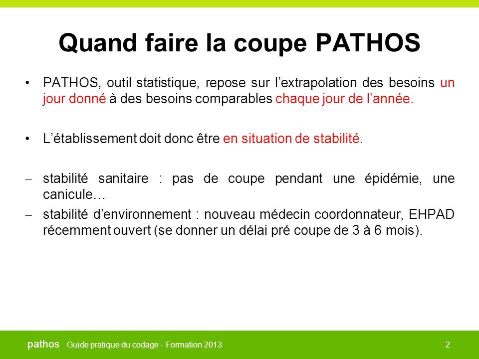 Guide pratique du codage - Formation 2013 pathos 2 Quand faire la coupe PATHOS •PATHOS, outil statistique, repose sur l'extrapolation des besoins un j