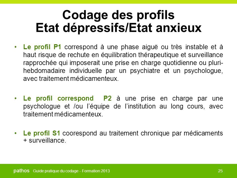 Guide pratique du codage - Formation 2013 pathos 25 Codage des profils Etat dépressifs/Etat anxieux •Le profil P1 correspond à une phase aiguë ou très