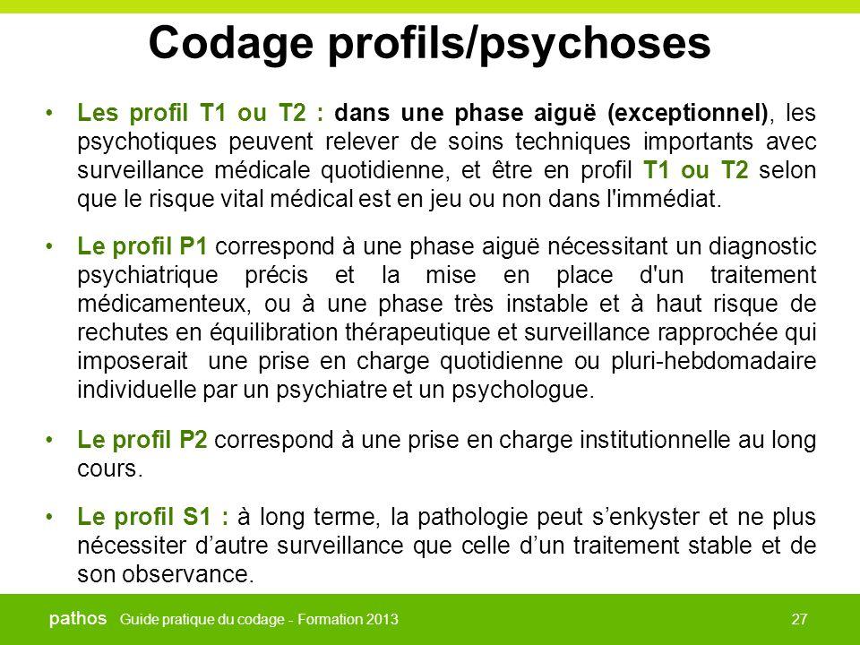 Guide pratique du codage - Formation 2013 pathos 27 Codage profils/psychoses •Les profil T1 ou T2 : dans une phase aiguë (exceptionnel), les psychotiq