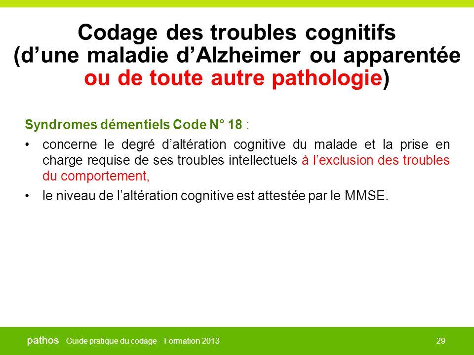 Guide pratique du codage - Formation 2013 pathos 29 Codage des troubles cognitifs (d'une maladie d'Alzheimer ou apparentée ou de toute autre pathologi