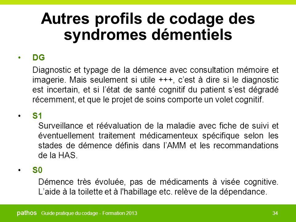 Guide pratique du codage - Formation 2013 pathos 34 Autres profils de codage des syndromes démentiels •DG Diagnostic et typage de la démence avec cons