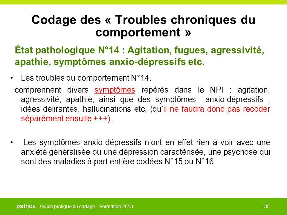 Guide pratique du codage - Formation 2013 pathos 35 Codage des « Troubles chroniques du comportement » •Les troubles du comportement N°14. comprennent