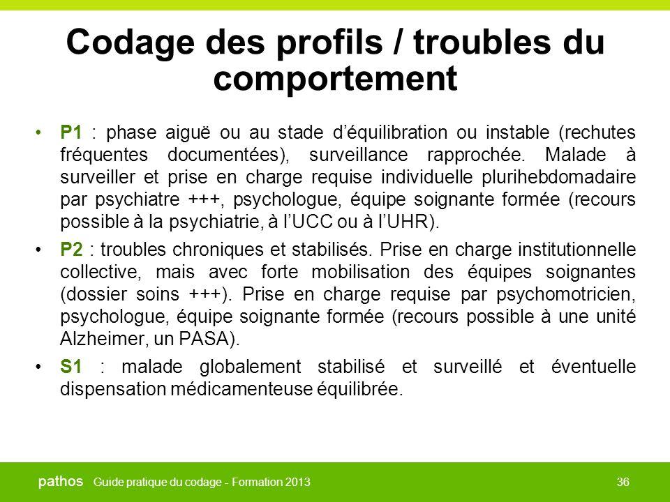 Guide pratique du codage - Formation 2013 pathos 36 Codage des profils / troubles du comportement •P1 : phase aiguë ou au stade d'équilibration ou ins