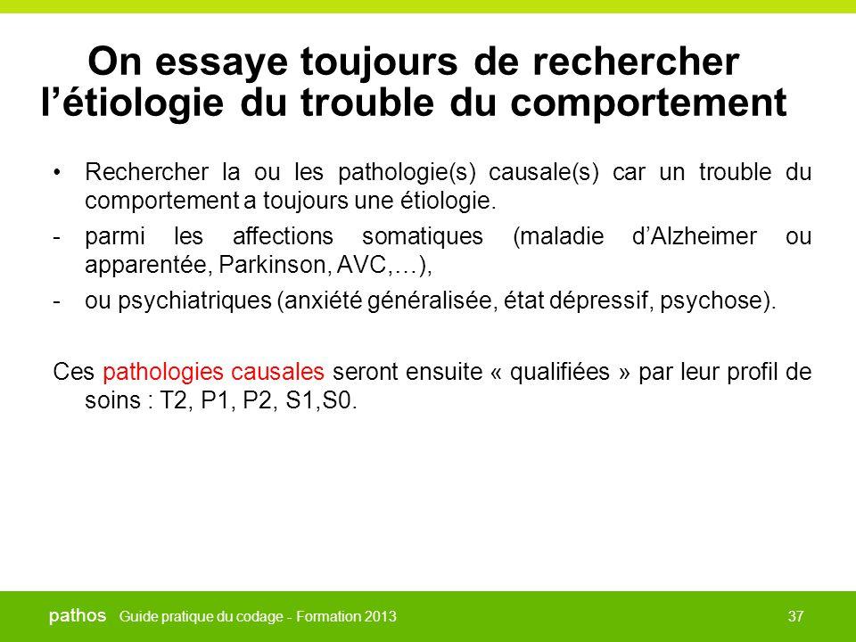 Guide pratique du codage - Formation 2013 pathos 37 On essaye toujours de rechercher l'étiologie du trouble du comportement •Rechercher la ou les path