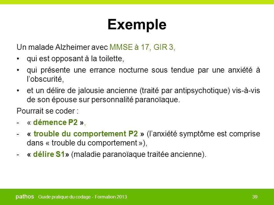 Guide pratique du codage - Formation 2013 pathos 39 Exemple Un malade Alzheimer avec MMSE à 17, GIR 3, •qui est opposant à la toilette, •qui présente