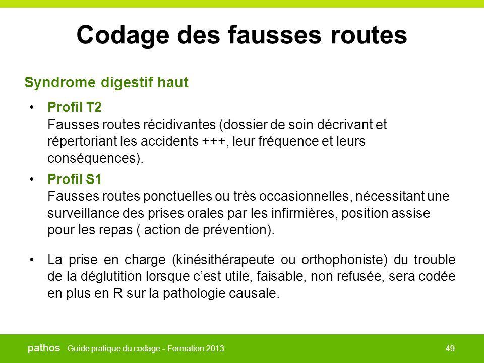 Guide pratique du codage - Formation 2013 pathos 49 Codage des fausses routes •Profil T2 Fausses routes récidivantes (dossier de soin décrivant et rép