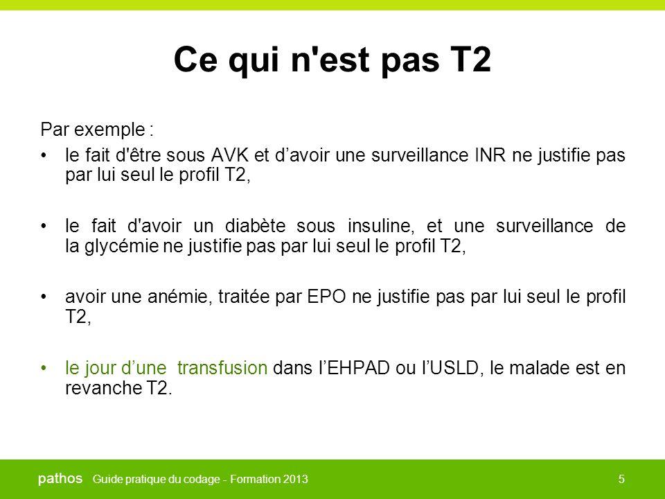 Guide pratique du codage - Formation 2013 pathos 5 Ce qui n'est pas T2 Par exemple : •le fait d'être sous AVK et d'avoir une surveillance INR ne justi