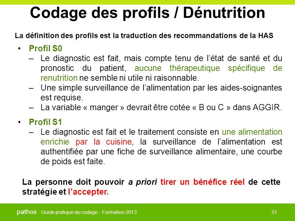 Guide pratique du codage - Formation 2013 pathos 51 Codage des profils / Dénutrition La définition des profils est la traduction des recommandations d