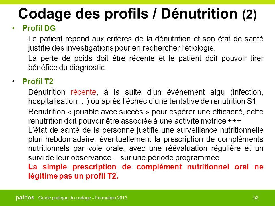 Guide pratique du codage - Formation 2013 pathos 52 Codage des profils / Dénutrition (2) •Profil DG Le patient répond aux critères de la dénutrition e