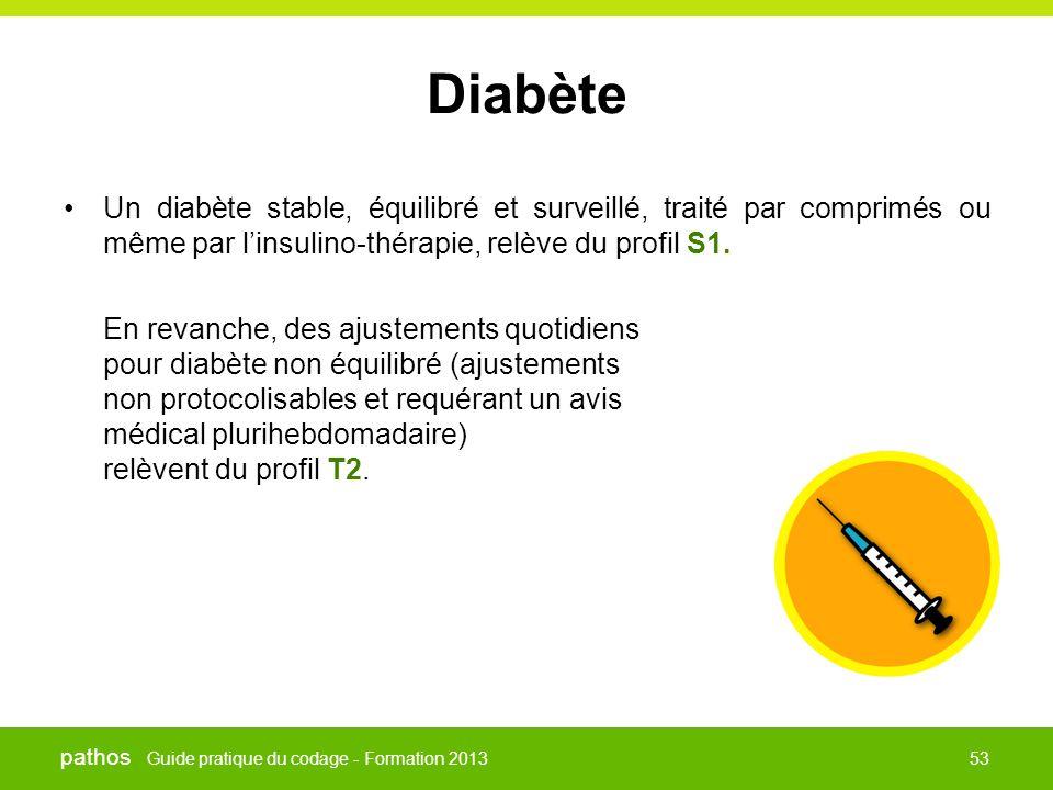 Guide pratique du codage - Formation 2013 pathos 53 Diabète •Un diabète stable, équilibré et surveillé, traité par comprimés ou même par l'insulino-th