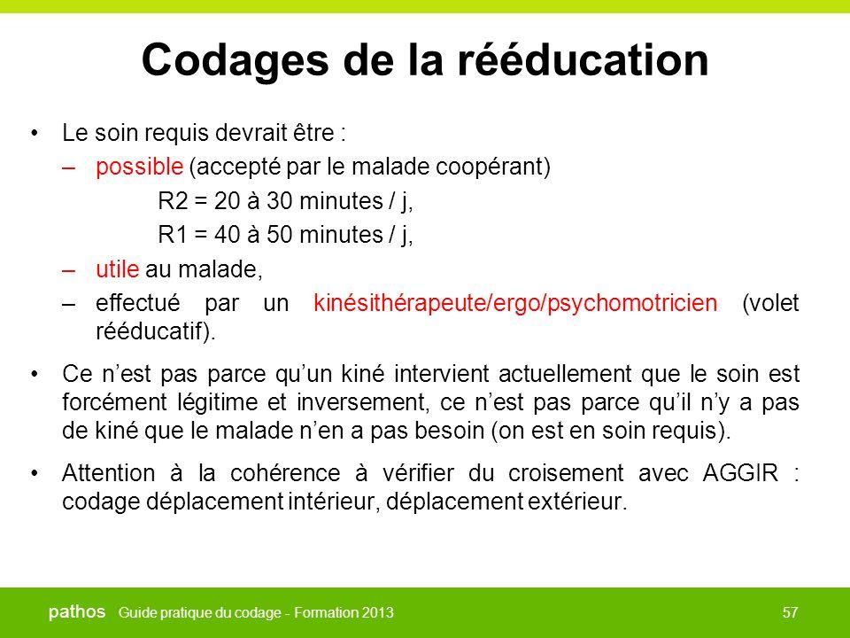 Guide pratique du codage - Formation 2013 pathos 57 Codages de la rééducation •Le soin requis devrait être : –possible (accepté par le malade coopéran