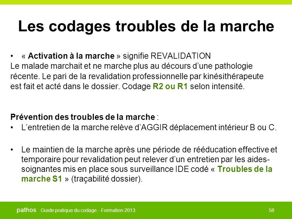 Guide pratique du codage - Formation 2013 pathos 58 Les codages troubles de la marche •« Activation à la marche » signifie REVALIDATION Le malade marc