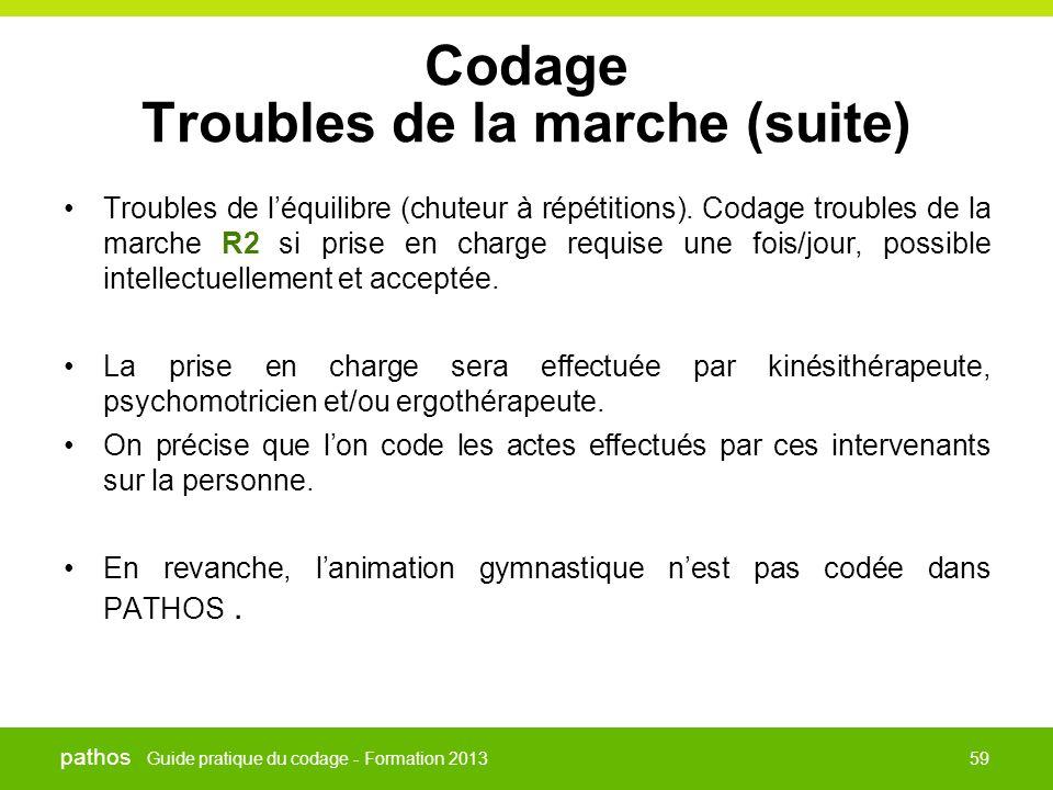 Guide pratique du codage - Formation 2013 pathos 59 Codage Troubles de la marche (suite) •Troubles de l'équilibre (chuteur à répétitions). Codage trou