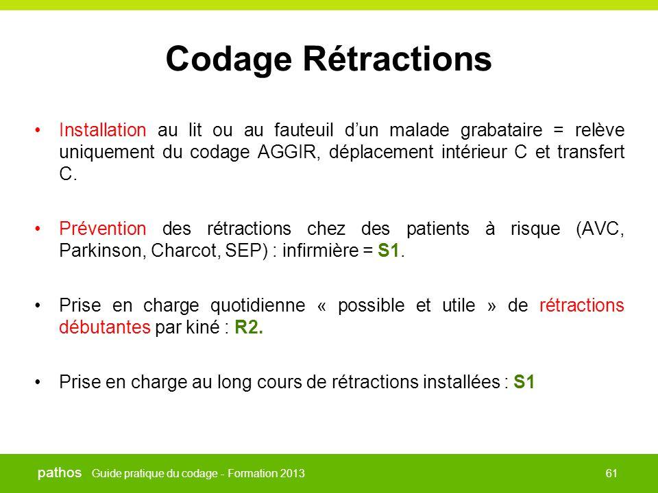 Guide pratique du codage - Formation 2013 pathos 61 Codage Rétractions •Installation au lit ou au fauteuil d'un malade grabataire = relève uniquement