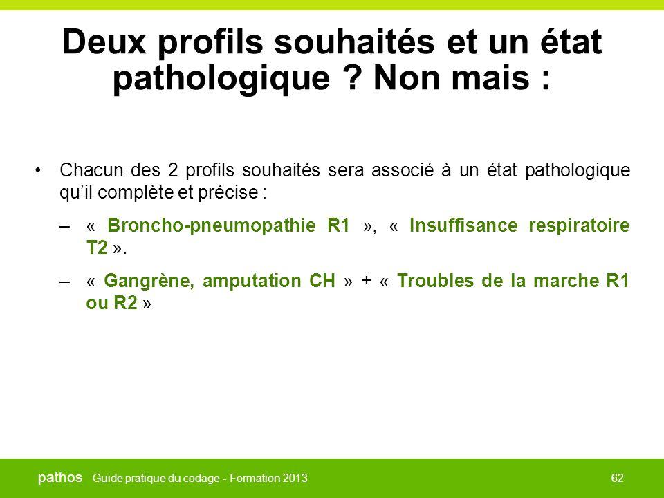 Guide pratique du codage - Formation 2013 pathos 62 Deux profils souhaités et un état pathologique ? Non mais : •Chacun des 2 profils souhaités sera a