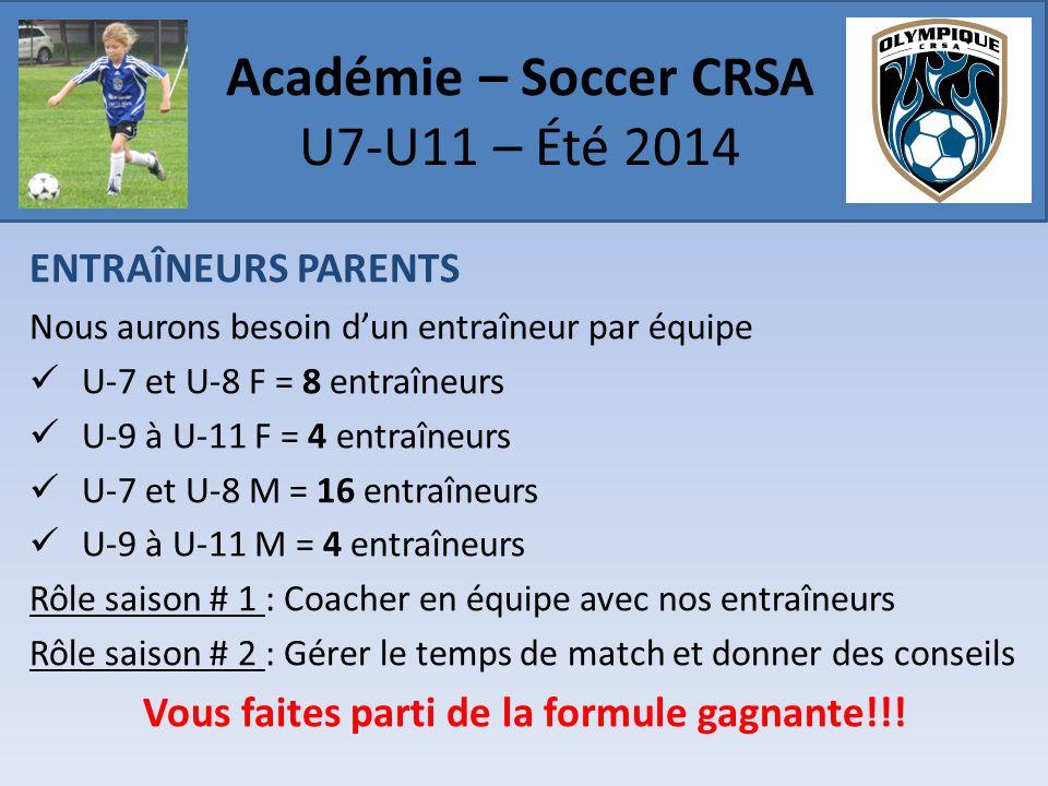 ENTRAÎNEURS PARENTS Nous aurons besoin d'un entraîneur par équipe  U-7 et U-8 F = 8 entraîneurs  U-9 à U-11 F = 4 entraîneurs  U-7 et U-8 M = 16 en