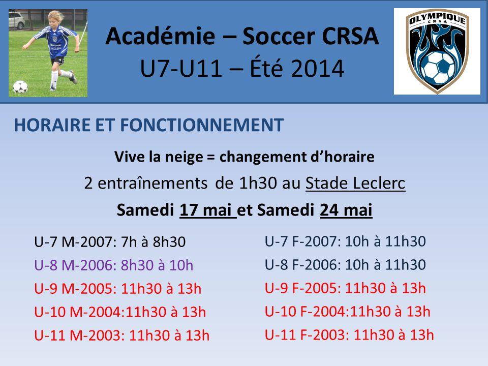 HORAIRE ET FONCTIONNEMENT Vive la neige = changement d'horaire 2 entraînements de 1h30 au Stade Leclerc Samedi 17 mai et Samedi 24 mai Académie – Soccer CRSA U7-U11 – Été 2014 U-7 M-2007: 7h à 8h30 U-8 M-2006: 8h30 à 10h U-9 M-2005: 11h30 à 13h U-10 M-2004:11h30 à 13h U-11 M-2003: 11h30 à 13h U-7 F-2007: 10h à 11h30 U-8 F-2006: 10h à 11h30 U-9 F-2005: 11h30 à 13h U-10 F-2004:11h30 à 13h U-11 F-2003: 11h30 à 13h