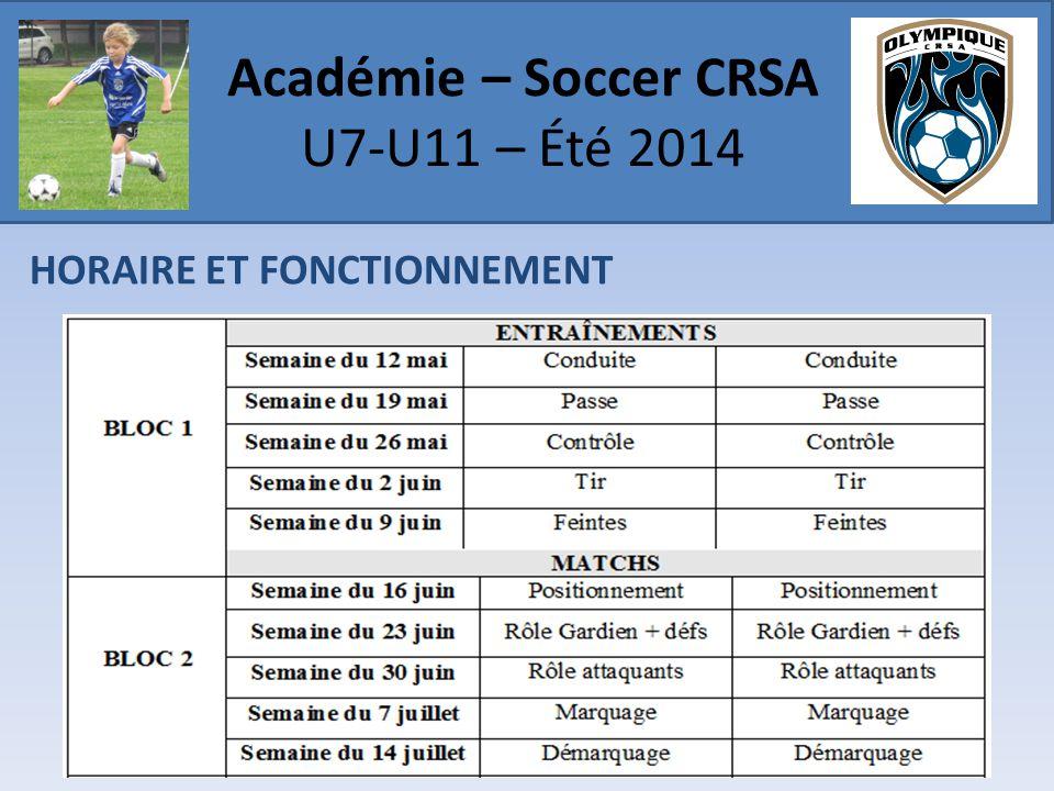 HORAIRE ET FONCTIONNEMENT Académie – Soccer CRSA U7-U11 – Été 2014