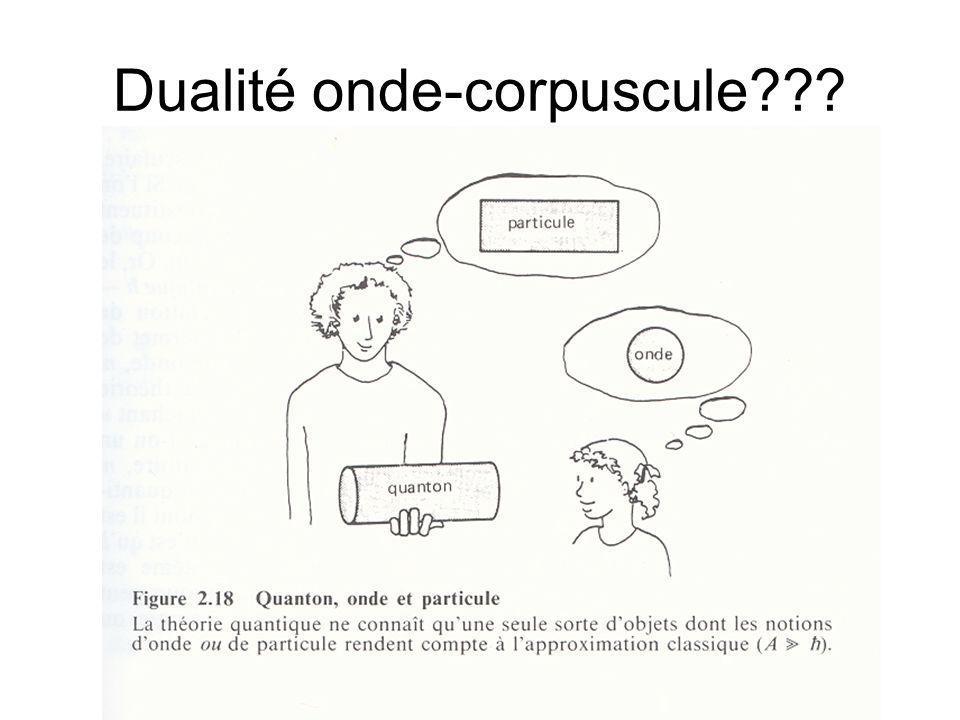Dualité onde-corpuscule???