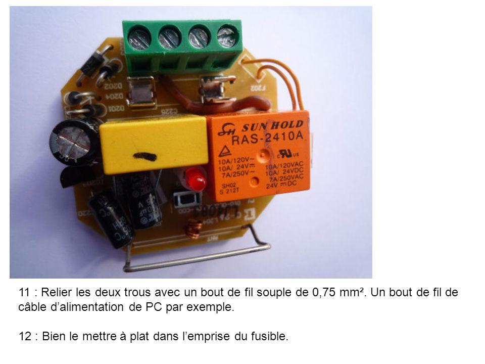 11 : Relier les deux trous avec un bout de fil souple de 0,75 mm². Un bout de fil de câble d'alimentation de PC par exemple. 12 : Bien le mettre à pla