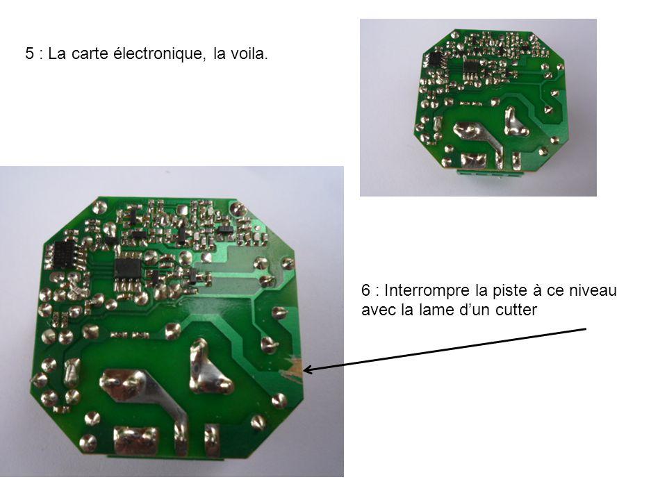 7 : Interrompre la liaison électrique entre les pattes à gauche du bornier après avoir enlever le maximum d'étain à l'aide d'un fer à souder..