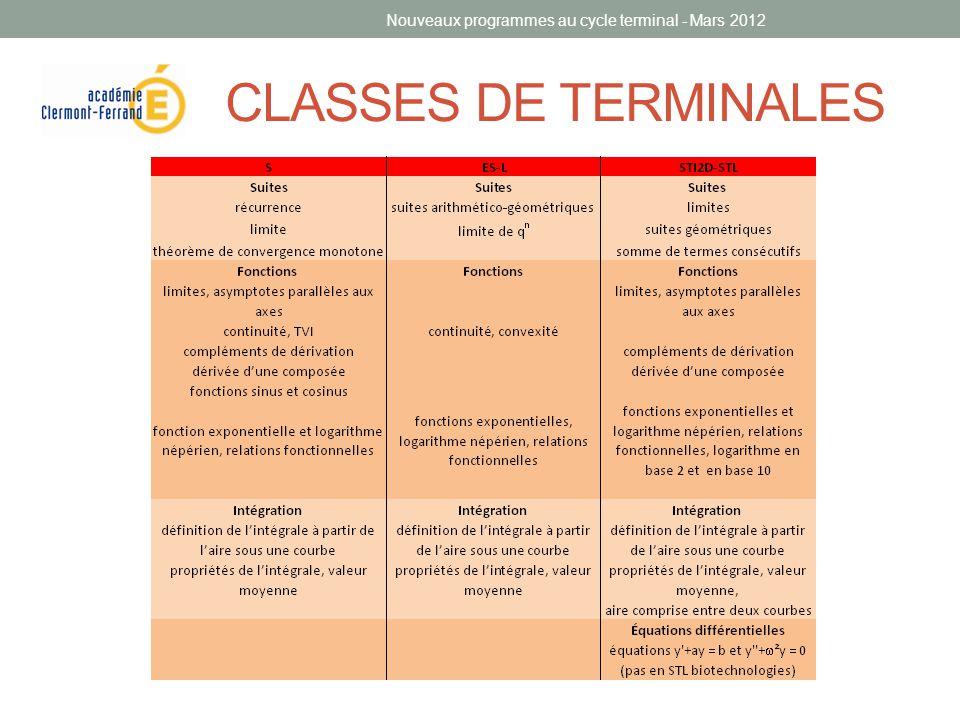 CLASSES DE TERMINALES Nouveaux programmes au cycle terminal - Mars 2012