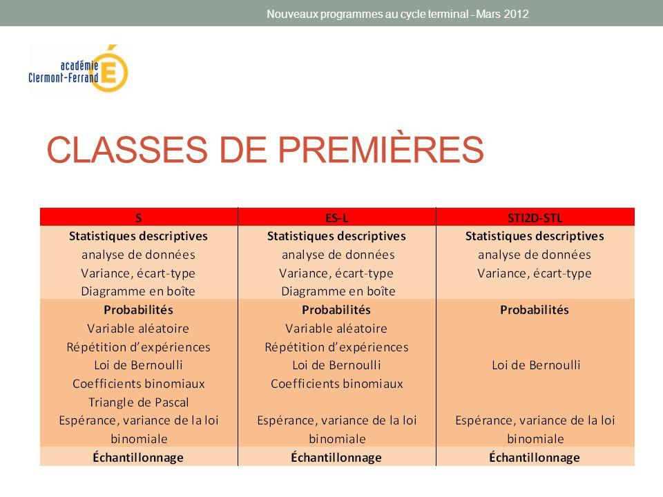 CLASSES DE PREMIÈRES Nouveaux programmes au cycle terminal - Mars 2012