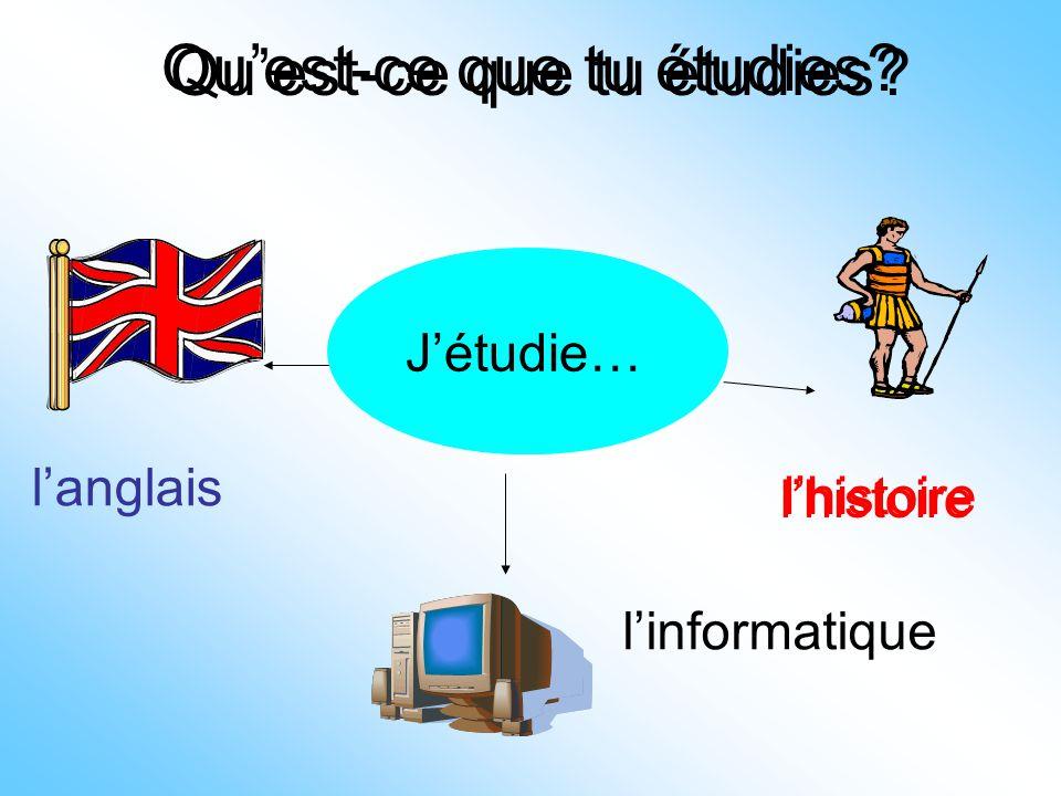 Qu'est-ce que tu étudies? J'étudie… l'anglais l'histoire l'informatique J'étudie… l'histoire Qu'est-ce que tu étudies?