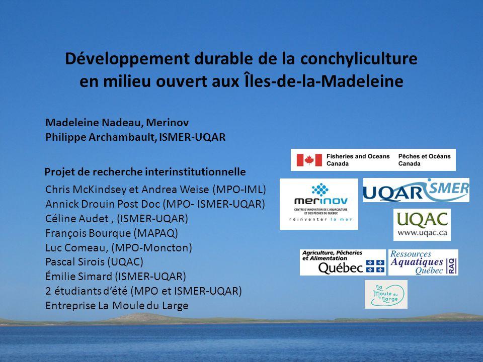 Développement durable de la conchyliculture en milieu ouvert aux Îles-de-la-Madeleine Chris McKindsey et Andrea Weise (MPO-IML) Annick Drouin Post Doc (MPO- ISMER-UQAR) Céline Audet, (ISMER-UQAR) François Bourque (MAPAQ) Luc Comeau, (MPO-Moncton) Pascal Sirois (UQAC) Émilie Simard (ISMER-UQAR) 2 étudiants d'été (MPO et ISMER-UQAR) Entreprise La Moule du Large Madeleine Nadeau, Merinov Philippe Archambault, ISMER-UQAR Projet de recherche interinstitutionnelle