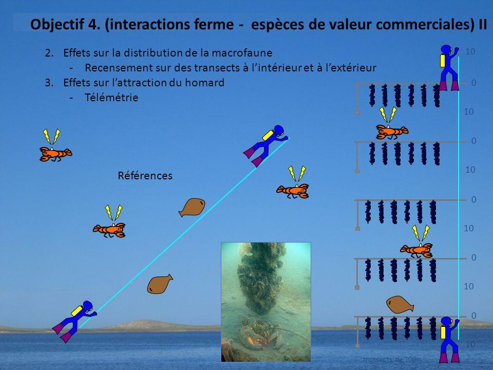 2.Effets sur la distribution de la macrofaune -Recensement sur des transects à l'intérieur et à l'extérieur 3.Effets sur l'attraction du homard -Télémétrie 10 0 0 0 0 0 transects de 100m Objectif 4.