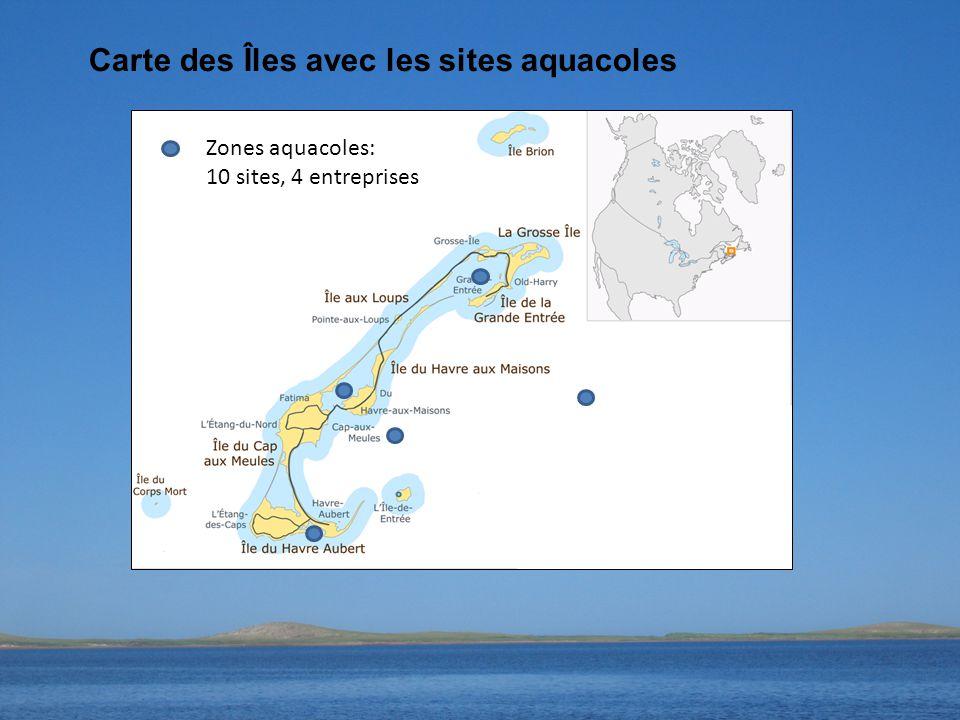 Carte des Îles avec les sites aquacoles Zones aquacoles: 10 sites, 4 entreprises