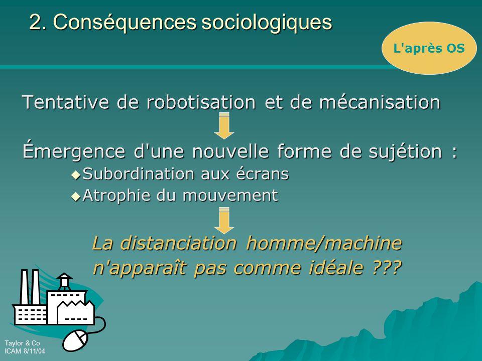 Taylor & Co ICAM 8/11/04 2. Conséquences sociologiques Tentative de robotisation et de mécanisation Émergence d'une nouvelle forme de sujétion :  Sub