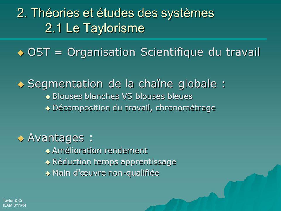 Taylor & Co ICAM 8/11/04 2. Théories et études des systèmes 2.1 Le Taylorisme  OST = Organisation Scientifique du travail  Segmentation de la chaîne