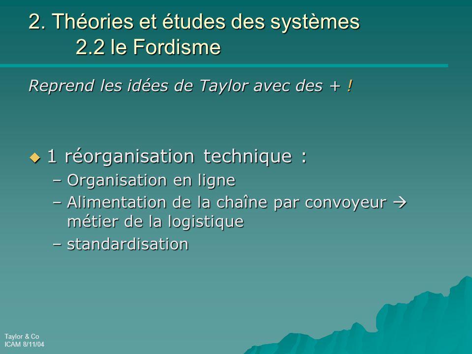 Taylor & Co ICAM 8/11/04 2. Théories et études des systèmes 2.2 le Fordisme Reprend les idées de Taylor avec des + !  1 réorganisation technique : –O