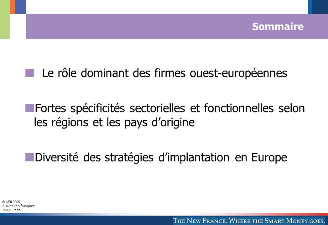 © AFII 2005 2, avenue Vélasquez 75008 Paris Sommaire Le rôle dominant des firmes ouest-européennes Fortes spécificités sectorielles et fonctionnelles
