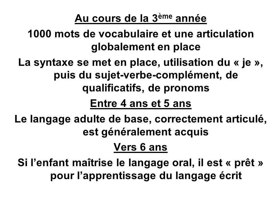 Au cours de la 3 ème année 1000 mots de vocabulaire et une articulation globalement en place La syntaxe se met en place, utilisation du « je », puis d