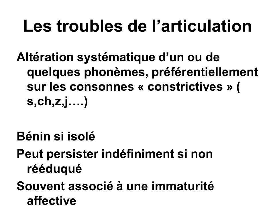 Les troubles de l'articulation Altération systématique d'un ou de quelques phonèmes, préférentiellement sur les consonnes « constrictives » ( s,ch,z,j