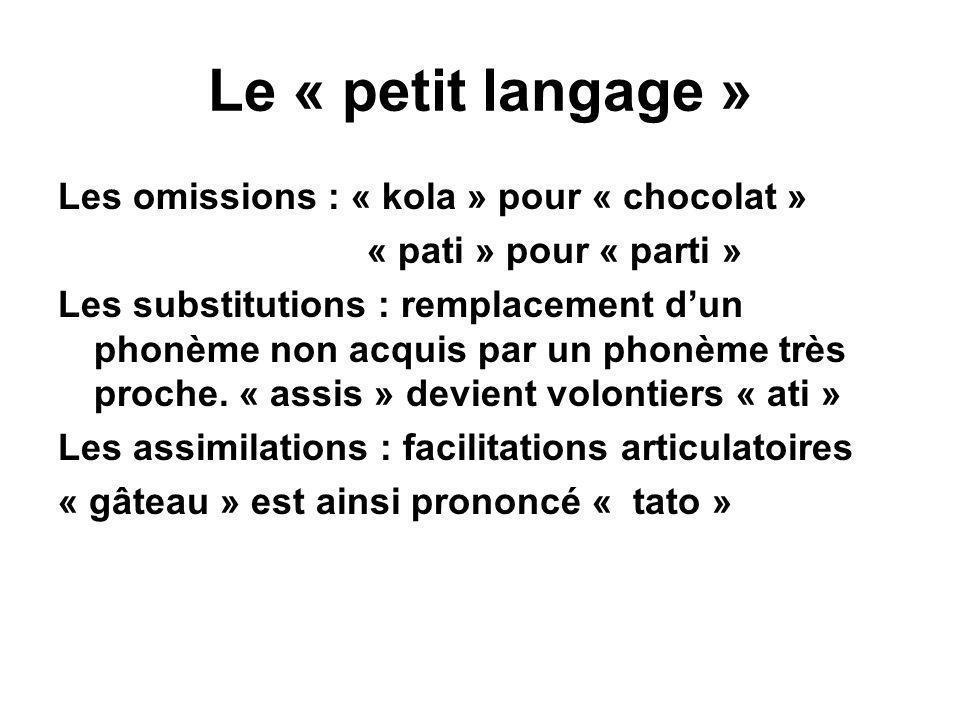 Le « petit langage » Les omissions : « kola » pour « chocolat » « pati » pour « parti » Les substitutions : remplacement d'un phonème non acquis par u