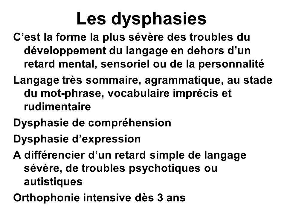 Les dysphasies C'est la forme la plus sévère des troubles du développement du langage en dehors d'un retard mental, sensoriel ou de la personnalité La